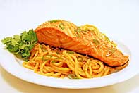 Sesame Noodles with Pan Roasted Salmon