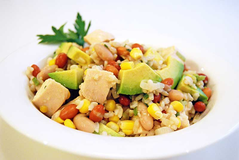 Chicken brown rice and avocado