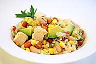 Warm Salad of Chicken, Beans, Rice and Corn